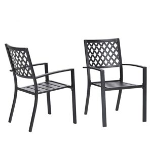 Dodgeville Wrought Iron Stacking Patio Armchairs